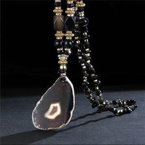 Stunning Black Geode Necklace!